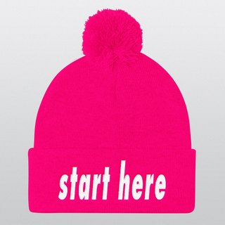 Start Here, Pom Pom Hat, Beanie, Beanie Hat, Pom Pom Beanie, Instagram Prop, Gift Ideas, Christmas Gifts, Winter Hat, Photo Booth, Cool Hat  Ask a question