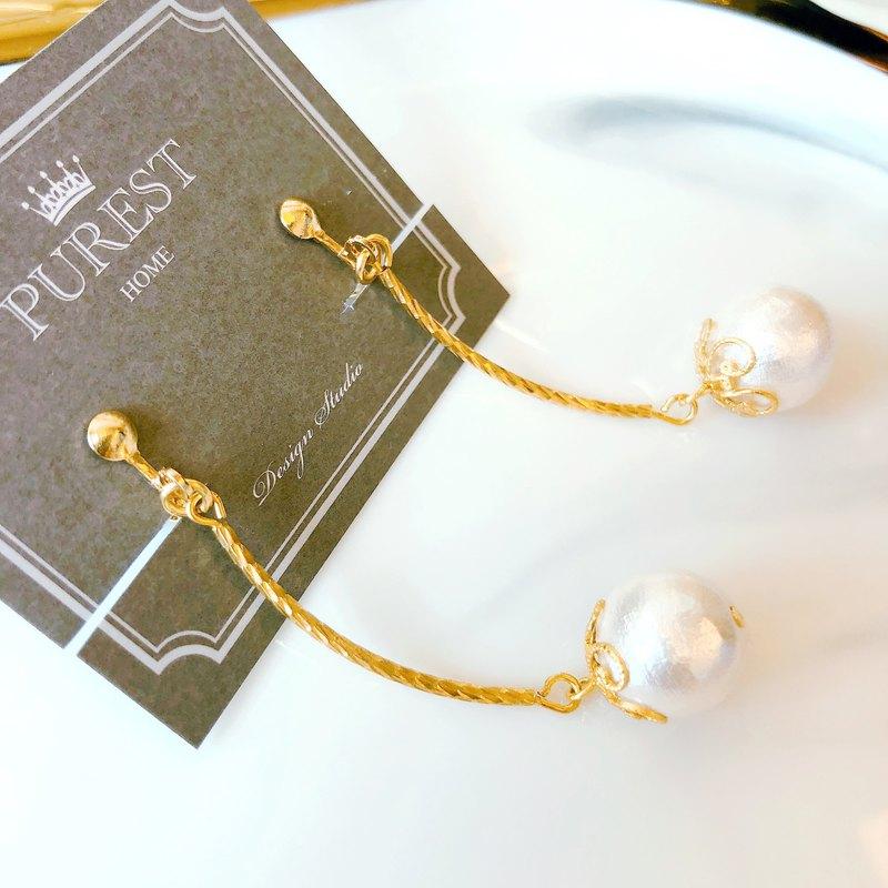 PUREST HOME 氣質典雅の日本棉珍珠-垂墜黃銅耳環
