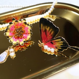 Miss Paranoid Paranoia Daisy Daisy and Gold Red Swallowtail Butterfly Resin Earrings Sold in Pairs
