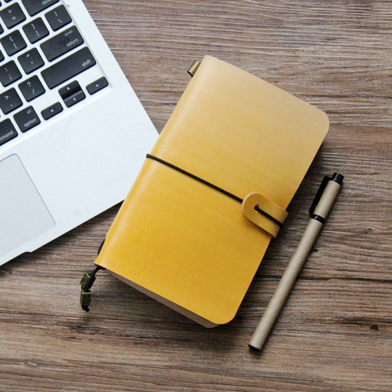 Yellow tea color gradient account book leather notebook diary TN travel book creative gift customization