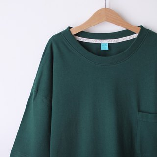 Short version loose shoulder shoulder pocket Tee - dark green - only S number