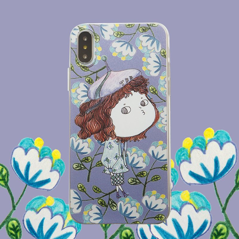 I like the illustration mobile phone shell small painter retro suit buns Miss limited edition mobile phone shell all-inclusive purple blue