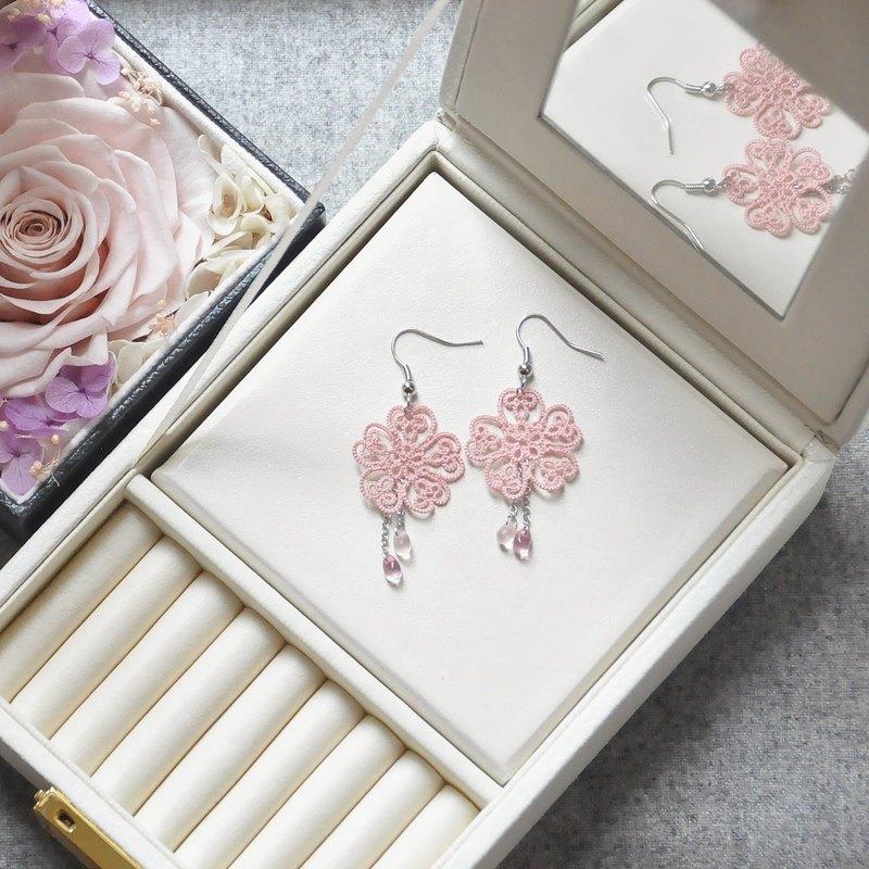 【訂製】櫻花蕾絲 耳環 桜の花  Sakura Cherry Blossom Earrings