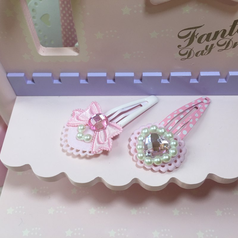 Pink Princess Hair Clip (2 Pieces 1 Set) ~ Bowknot/Love Jewel (Pink)