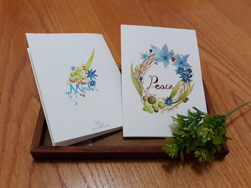 Heart-filled watercolor wreath card with cowhide envelope green and blue one 45 yuan