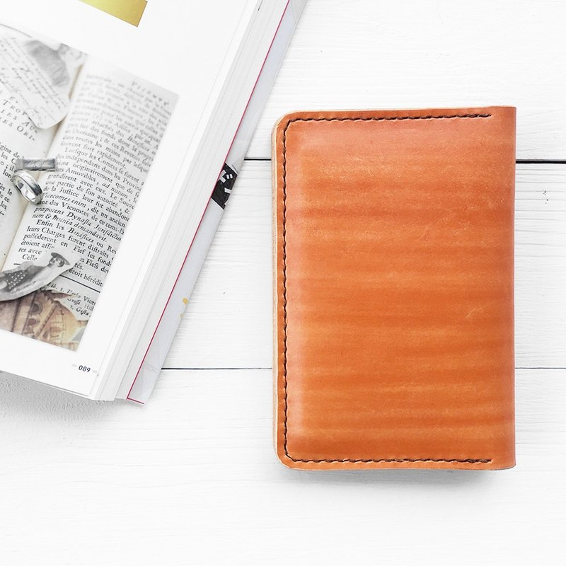 Minimal maple red dyed yak leather handmade passport holder