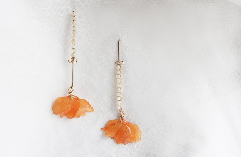 14KGF/ pocket bow powder orange temperament earrings