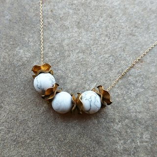 African Howlite Vintage Brass Beads Necklace