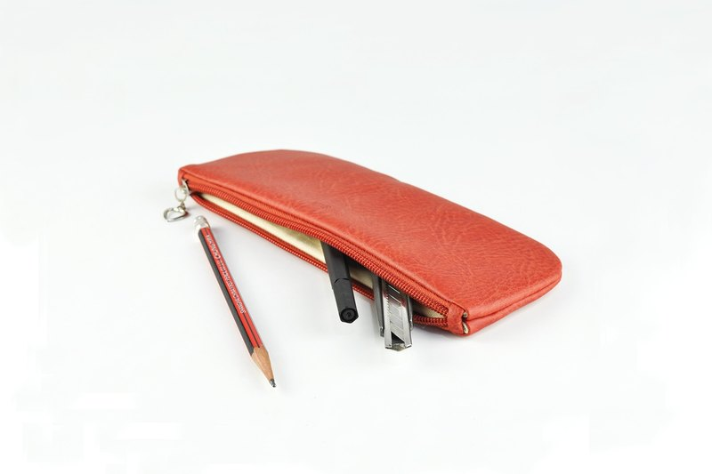 PU Leather Pencil Case, Travel Bag, Toiletry Storage, Red