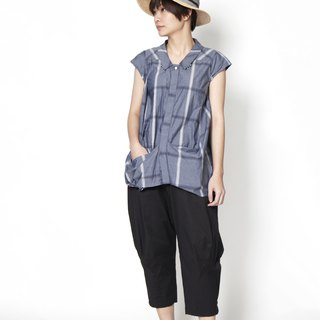 Wavy _ size pocket checked striped shirt