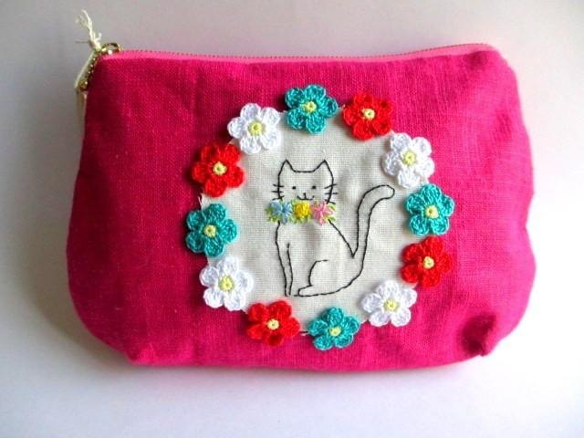 Flowers and cats of linen pouch * rose pink B