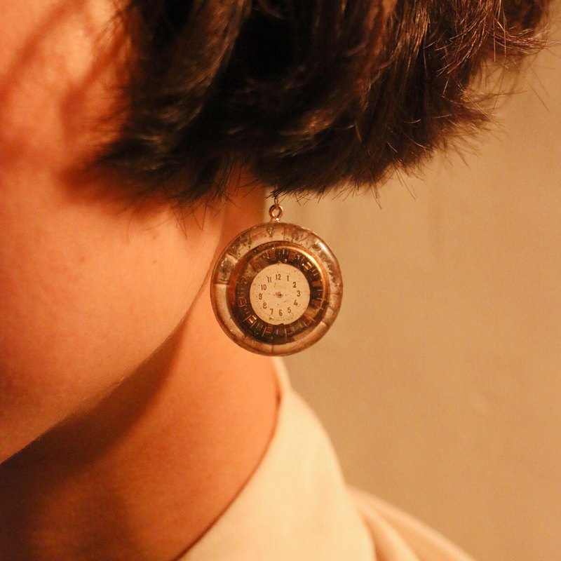 Vintage antique dial face earrings