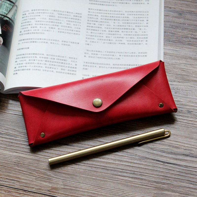 Red leather large capacity pencil case leather pencil case stationery bag glasses case can be customized graduation gift