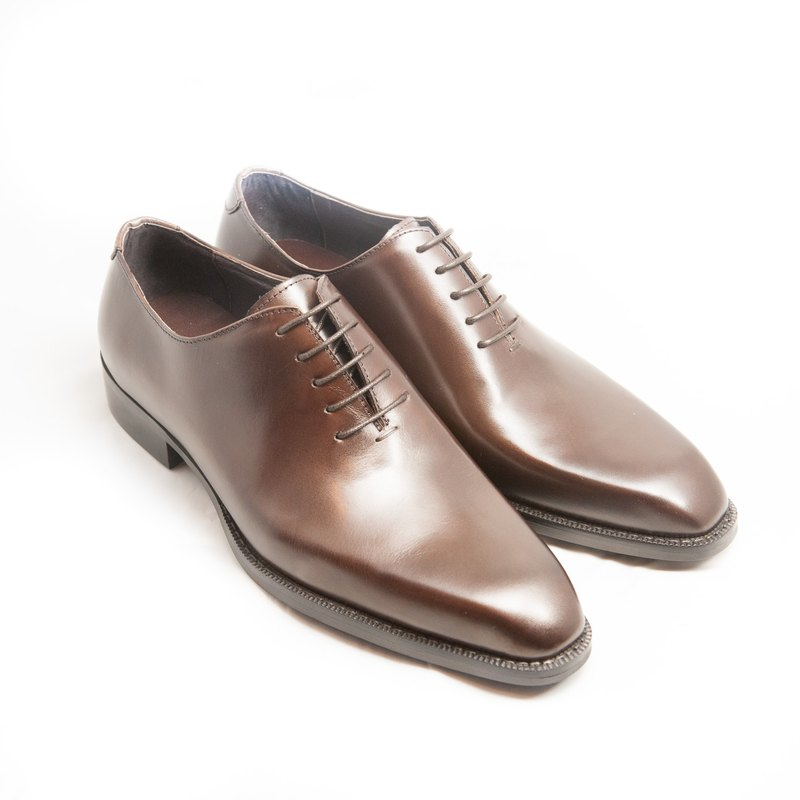 Hand-painted calf leather Whole Cut Oxford shoes leather shoes men's shoes - brown - free shipping - E1A27-89