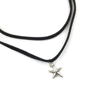 Double small silver star necklace