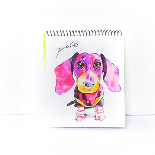 Hand-painted watercolor - custom pet portrait - like a picture - dog portrait draw [without box] dachshund