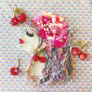 Cherry   embroidery beads handmade art