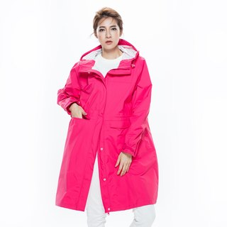 Rainster Ladies Drawstring Trench Coat - Hyun Hoe Red