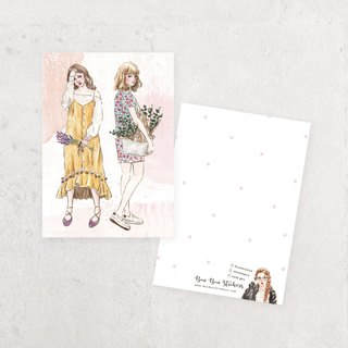 Illustration Postcard - Flower Girl B