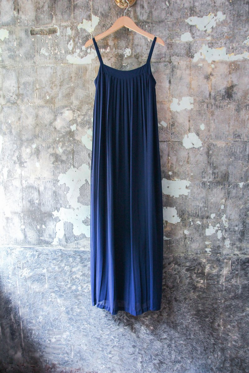 袅袅 department store-Vintage blue thin shoulder strap elegant 100% dress retro