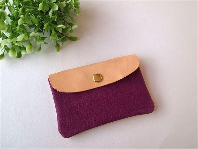 Pig leather soft card case [hand-dyed leather pass case] 168005