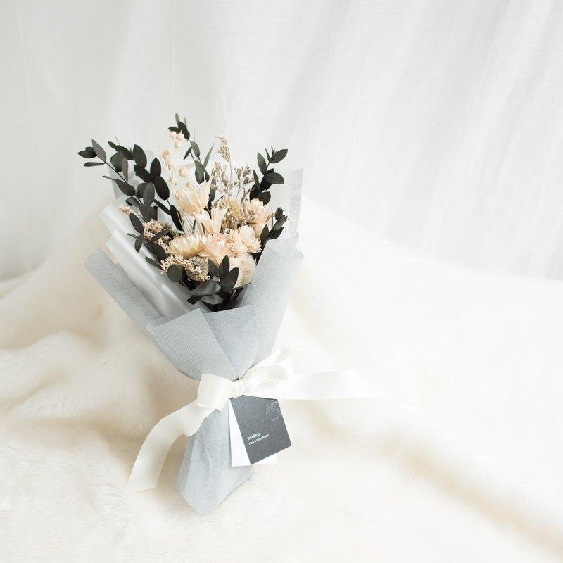 乾燥花 - 白色情 - 純白緞/乾燥花束/永生花/不凋花/禮物