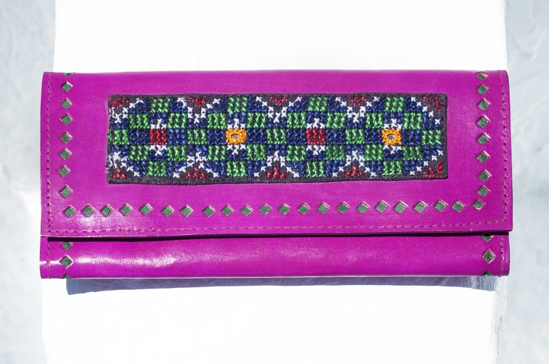 Leather long clip long wallet purse woven wallet - Indian desert hand-embroidered leather peach wallet