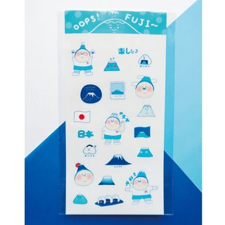 OOPSSTATION Mount Fuji fun hand painted transparent sticker