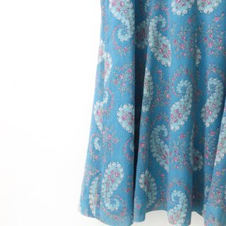 【RE1004D1413】 early autumn retro sweet romantic amoeba print floral short-sleeved water blue ancient dress