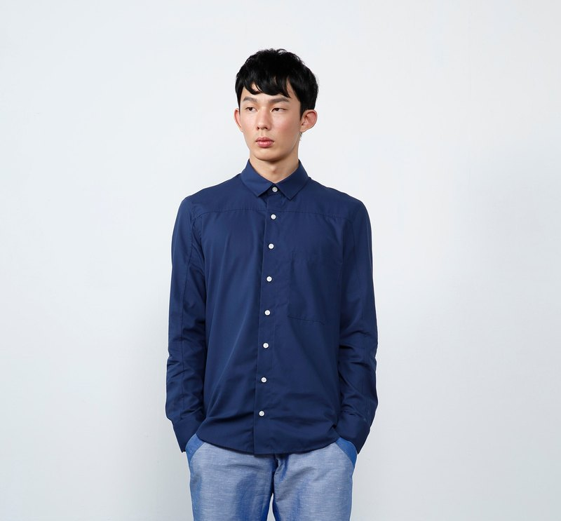 [Off-season sale] Strong twist long-sleeved splicing men's shirt-blue