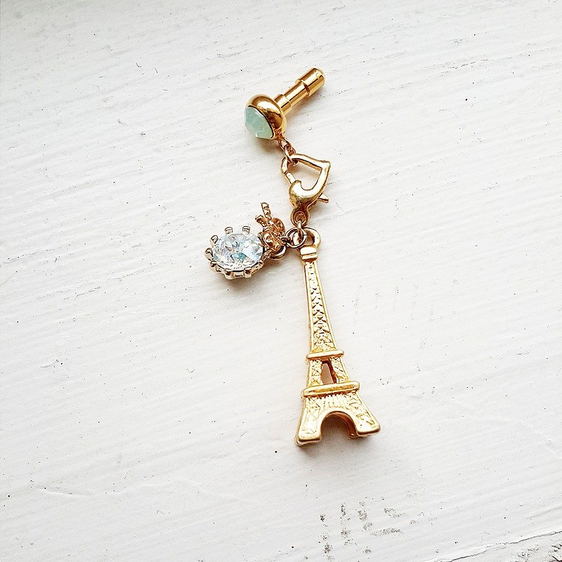 momolico headphone plug mobile phone strap bag strap key ring swarovski crystal Eiffel Tower