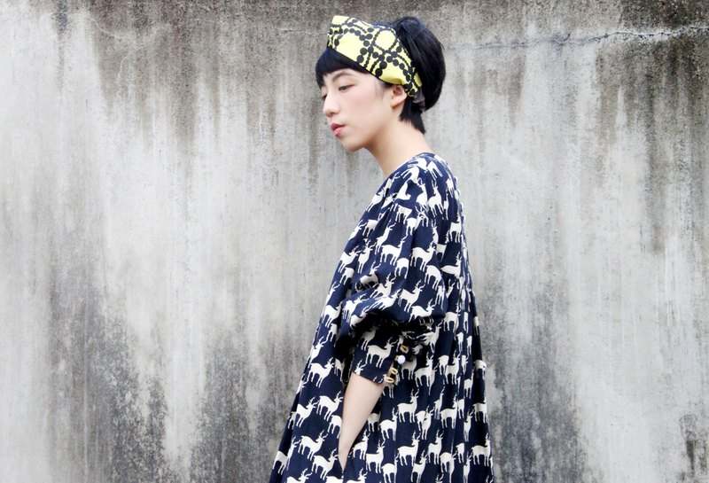 (Japan) cotton and linen printed over-size dress