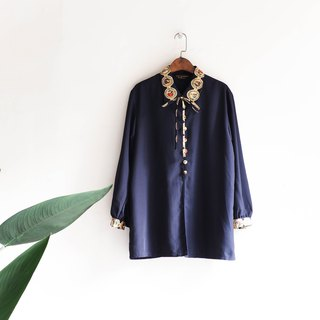 Rivers and mountains - Toyama color buckle palace young girls antique silk blouse shirt shirt oversize vintage