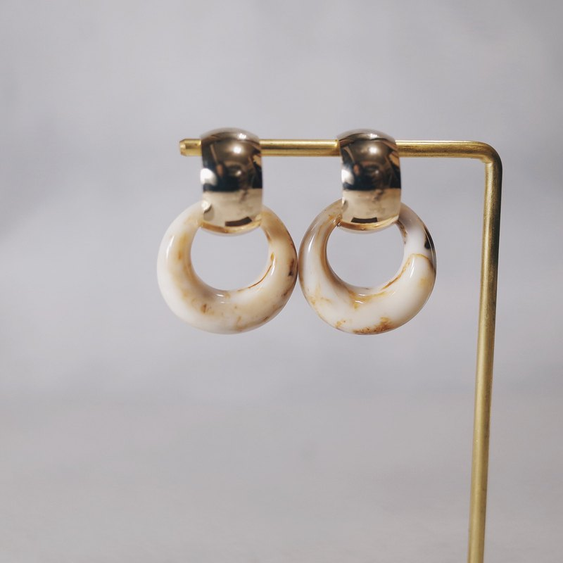 Two wearing marbled half moon rings-gold coffee circle earrings earrings (pair)