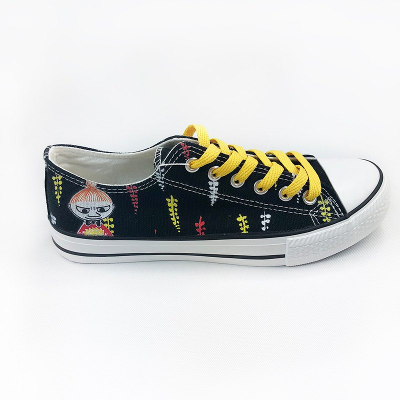 Moomin 噜噜米 authorized - low canvas shoes (black shoes yellow belt) - AE08