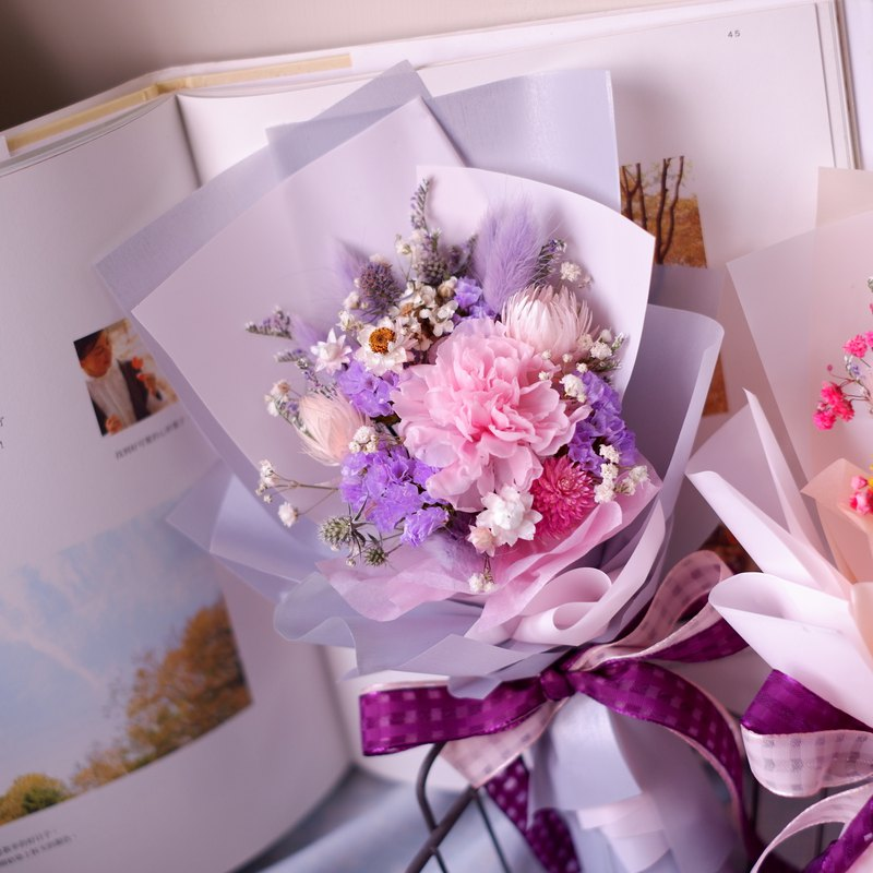 To be continued | Mother's Day limited pink purple not withered carnation dry flower bouquet spot + pre-order