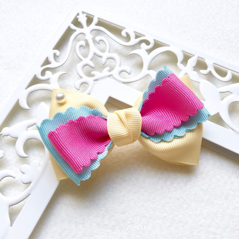 Colorful macarons bow hairpin / bright yellow