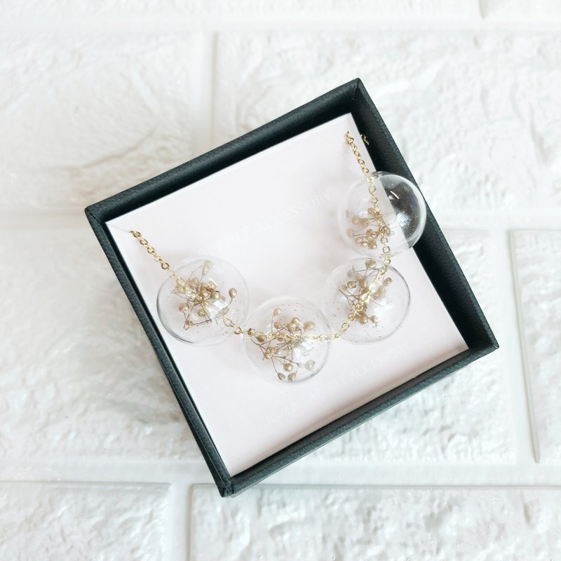 Golden Baby Breath Necklace Bridesmaid gift wedding  Glass Ball Flower