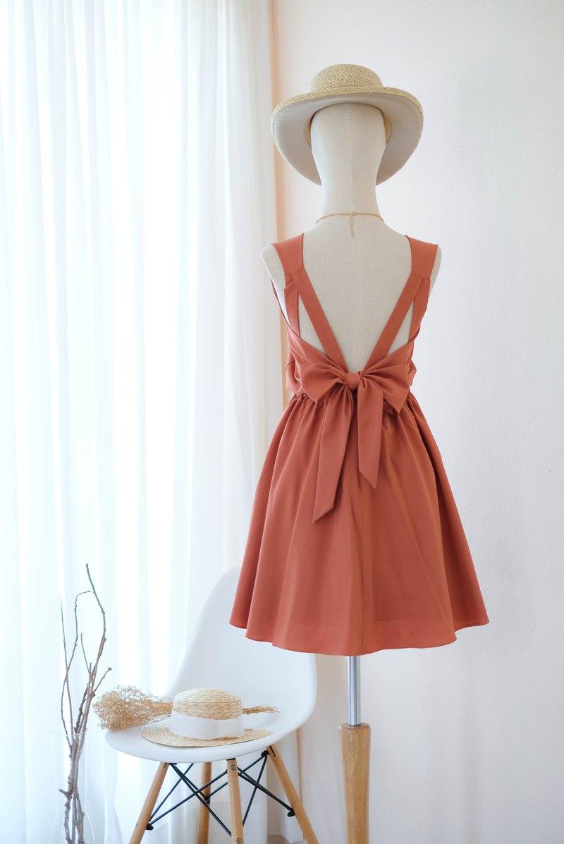 銹橙色禮服伴娘禮服露背派對雞尾酒短禮服