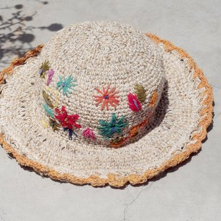 Valentine's Day gift limited a hand-woven cotton hood / weaving hat / fisherman hat / sun hat / straw hat / straw hat - Boho rainbow embroidery flowers forest wind (orange)