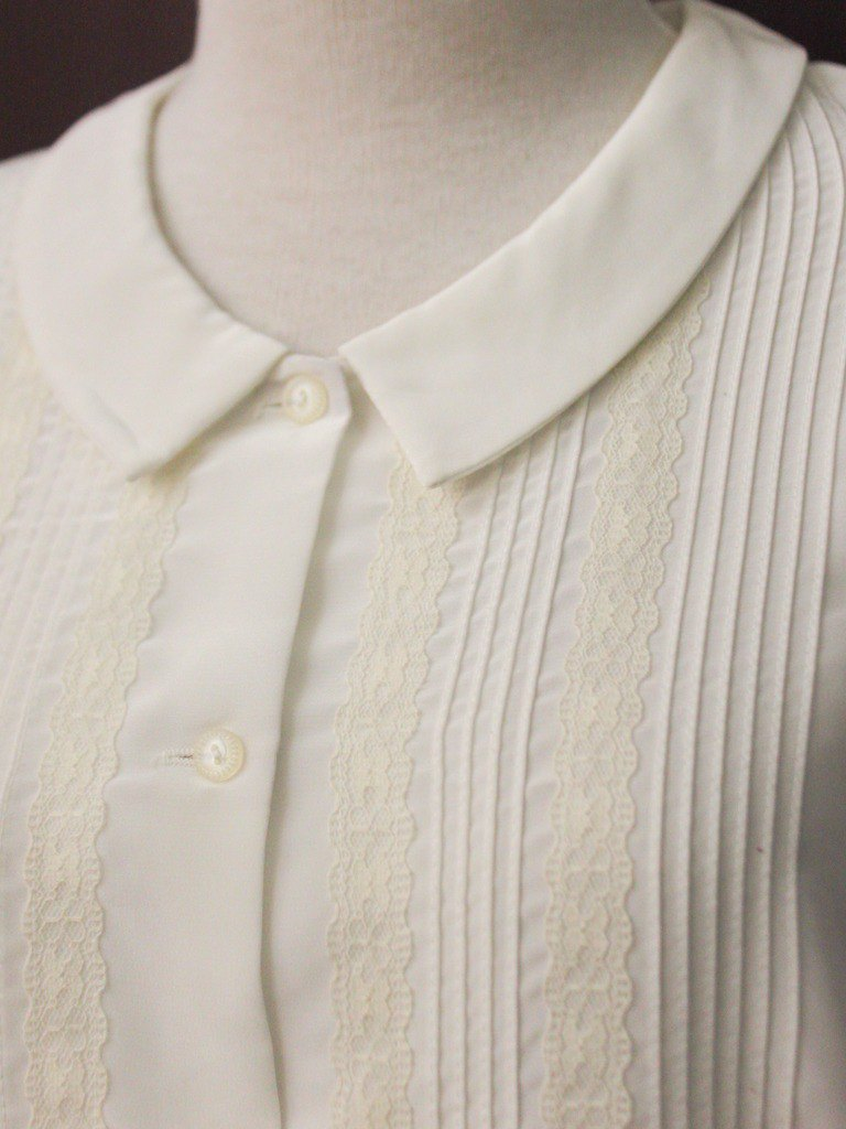 Vintage Japanese Elegant Lace Panel Cute Loose White Long Sleeve Vintage Shirt
