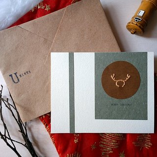 Hand-stitch image Christmas card (Christmas deer) (original)