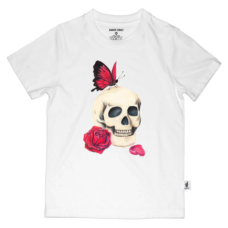 British Fashion Brand -Baker Street- Skull in Love Printed T-shirt for Kids