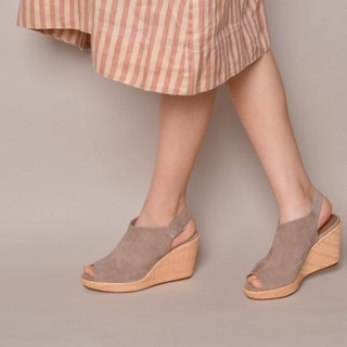 90122 Fish mouth wedge shoes khaki