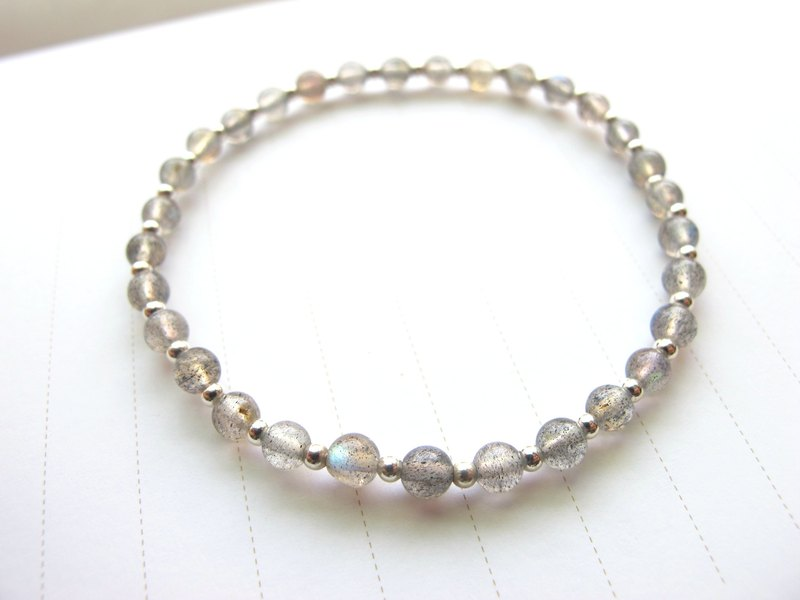 4mm labradorite x 925 silver beads [slow] - hand-created natural stone series