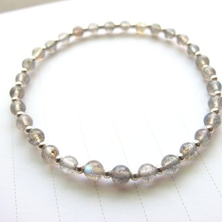 【Slow】 4mm elongated stone x 925 Silver beads - Handmade natural stone series