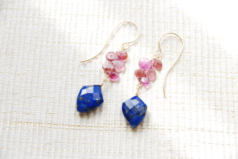 Lapis lazuli and tourmaline earrings 14kgf