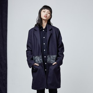 DYCTEAM - Wool Stitching Jacquard Denim Coat