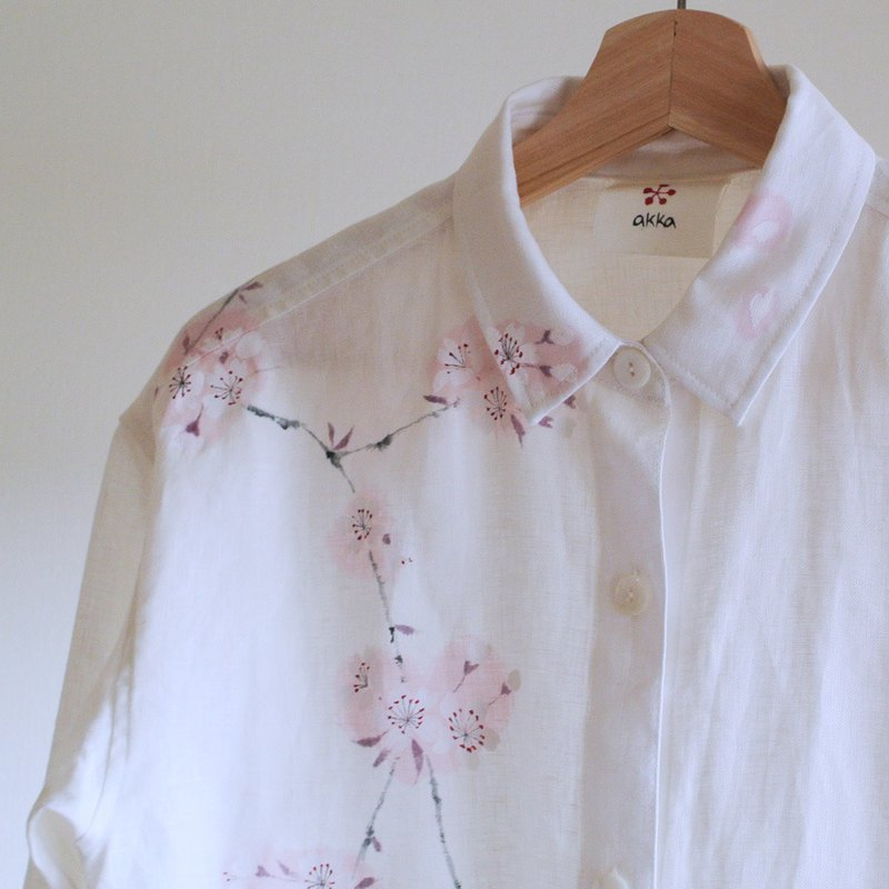 Linen shirt white cherry blossom