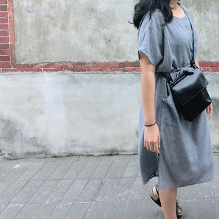 [Blue] gray mixed linen dress